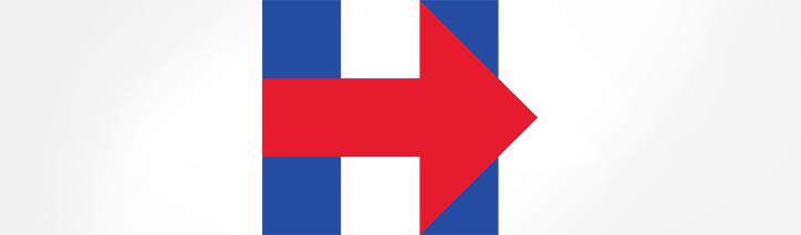 Hillary Clintons Wahlkampflogo: das Hillary-H